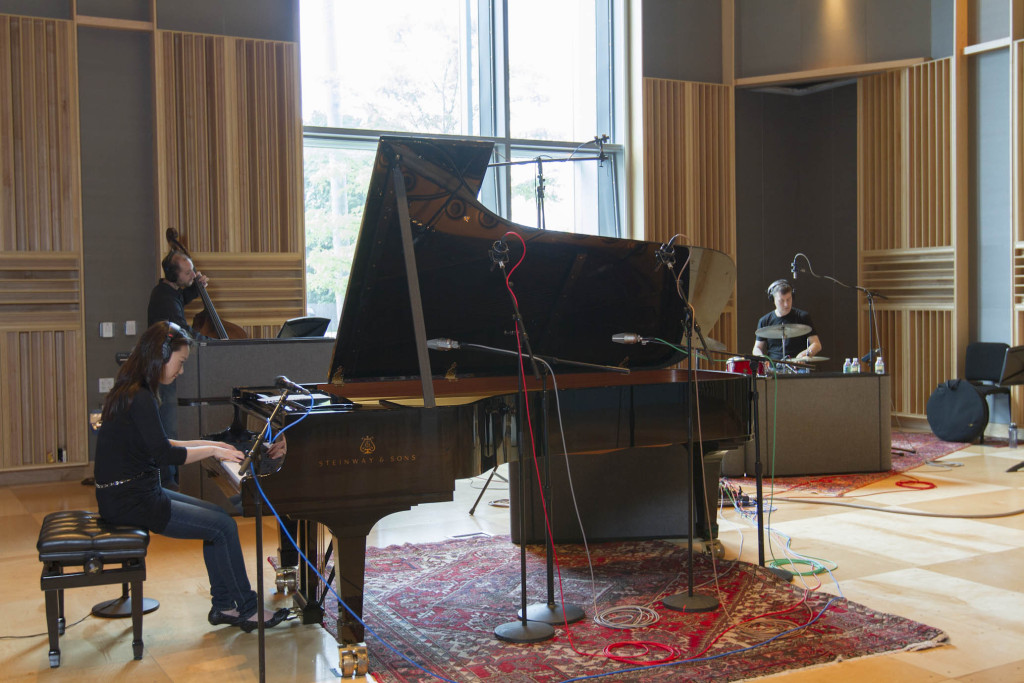"Yoko Miwa Trio recording live in WGBH Studios. Photo by Takehiko ""Tak"" Tokiwa"