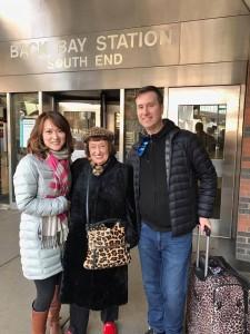 Sheila Jordan with Yoko and Scott at the train station