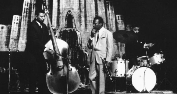 Jimmy Cobb with Miles Davis and Paul Chambers.