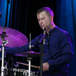 Scott Goulding on drums at the 2018 Litchfield Jazz Festival