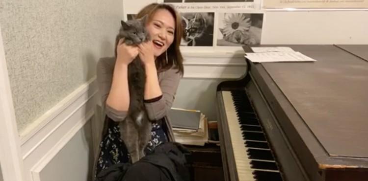 Yoko and Edamame at the piano