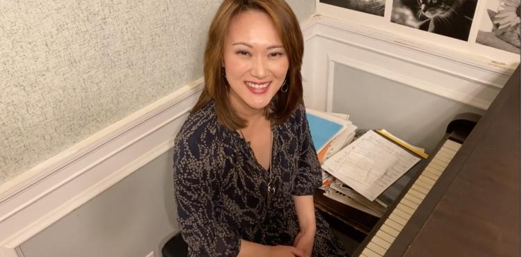 Yoko at her home piano