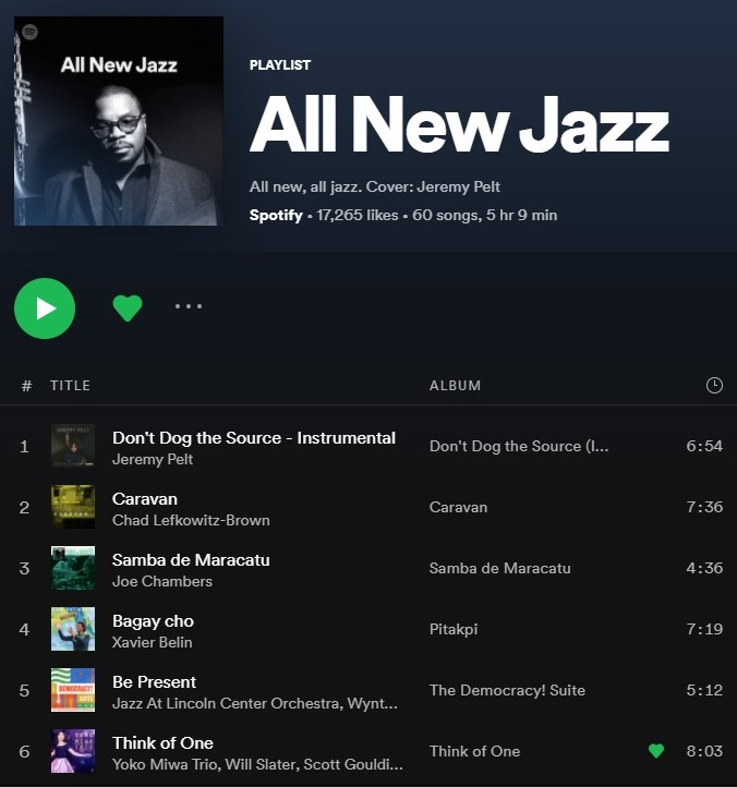 Yoko Miwa Trio song Think of One on the Spotify playlist All New Jazz