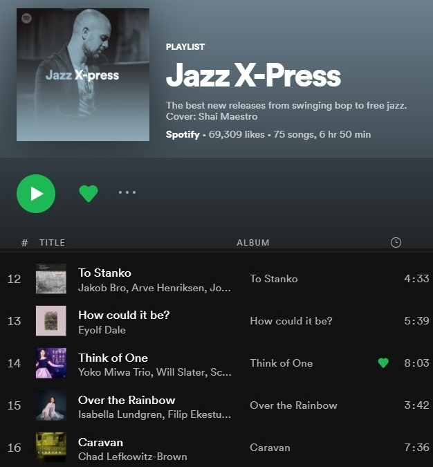 Yoko Miwa Trio song Think of One on the Spotify playlist Jazz X-Press