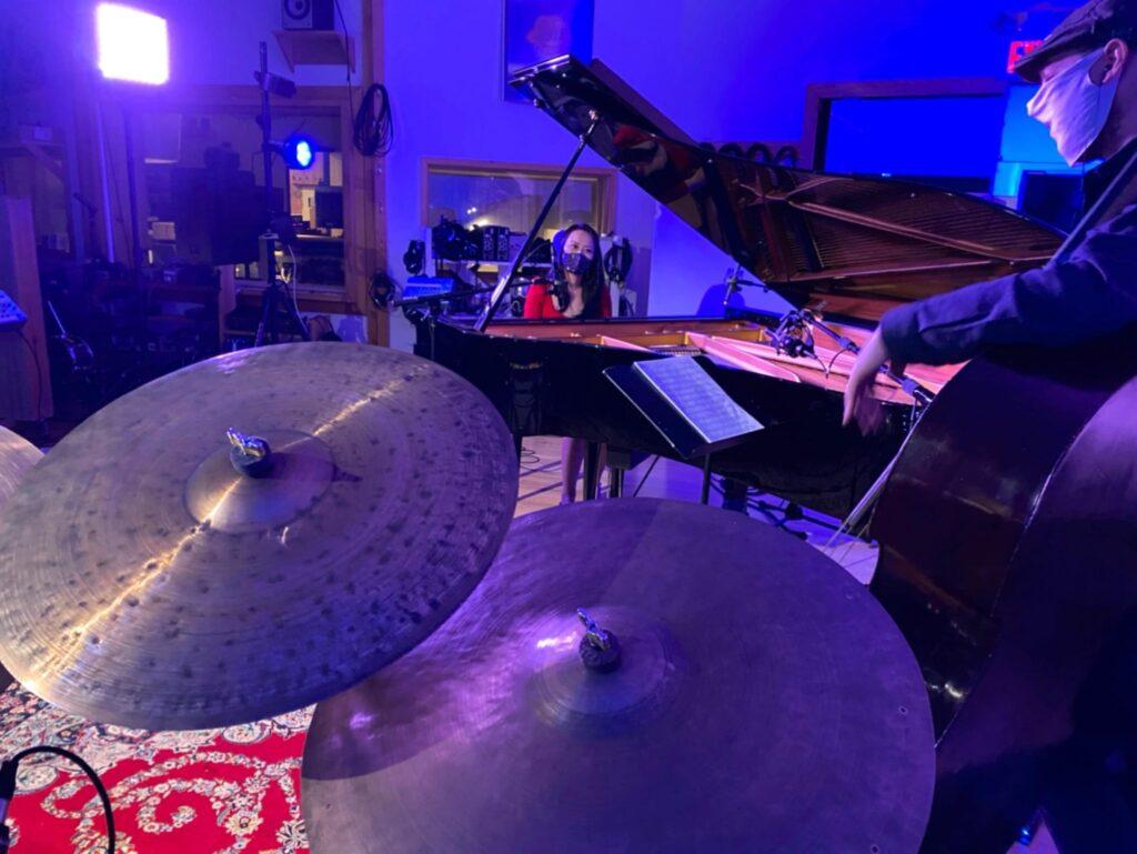 Yoko MIwa Trio in the recording studio