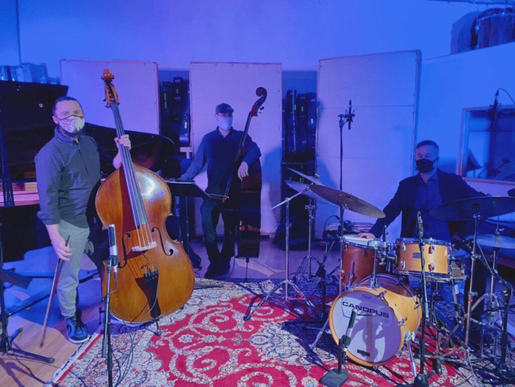 Yoko MIwa Trio in the recording studio with special guest Brad Barrett