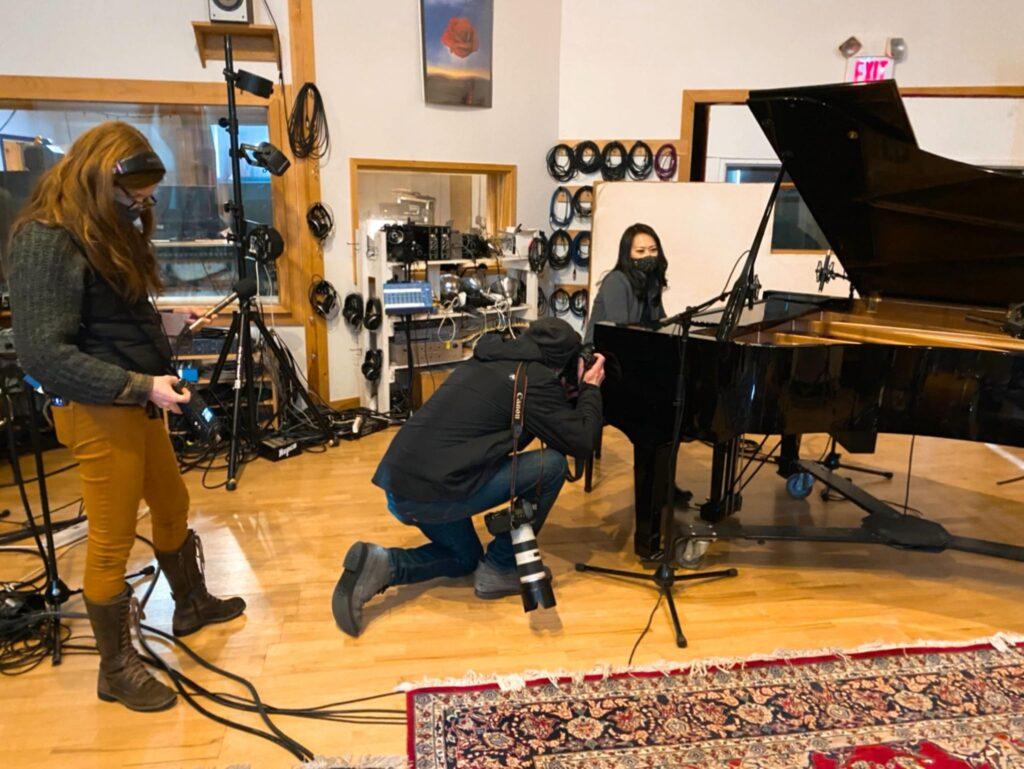 Yoko Miwa Trio being interviewed by WBUR