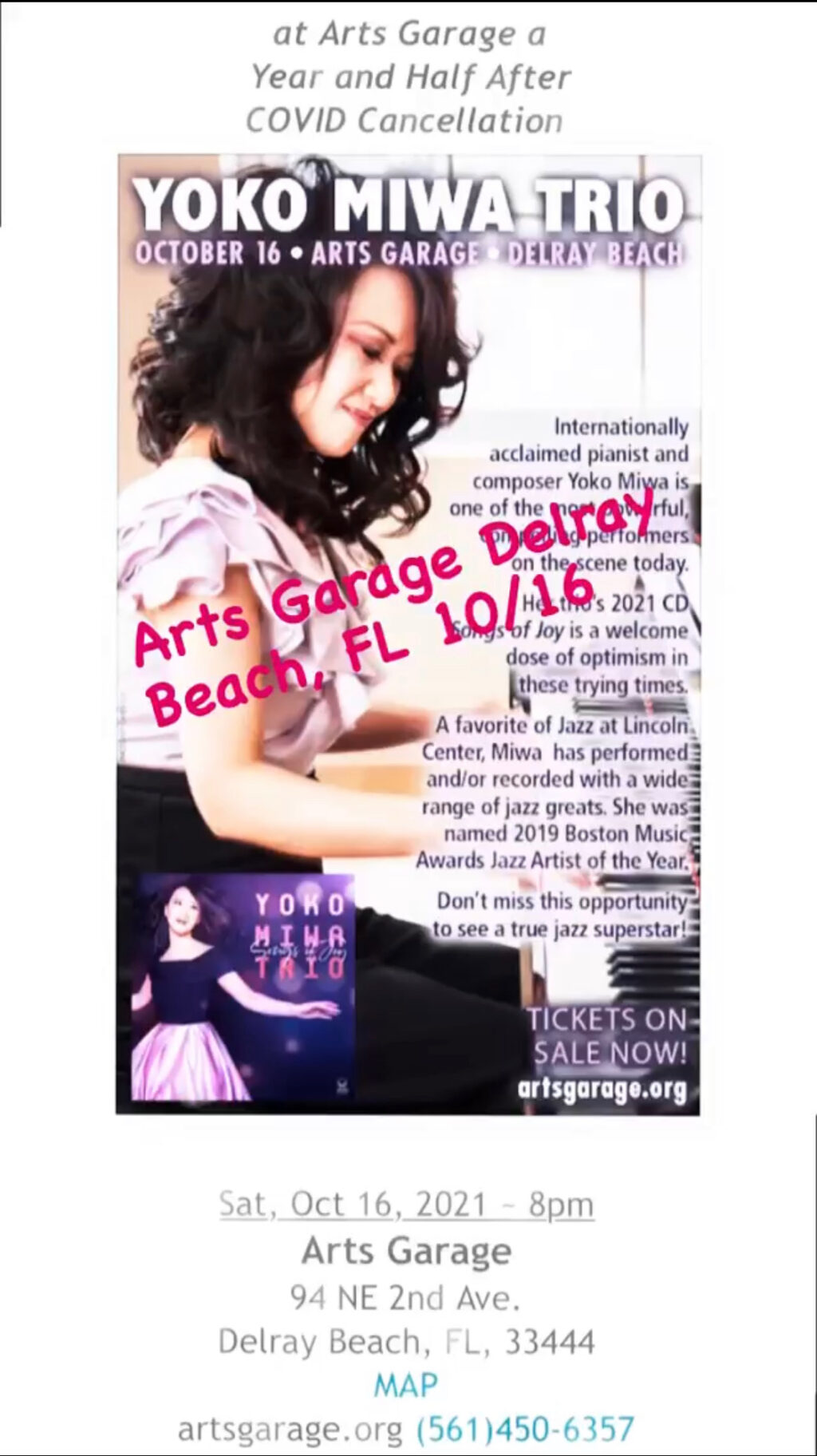 Yoko Miwa plays Arts Garage in Delray Beach, FL
