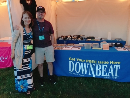 Yoko Miwa visiting the Downbeat Magazine tent at the 2018 Litchfield Jazz Festival