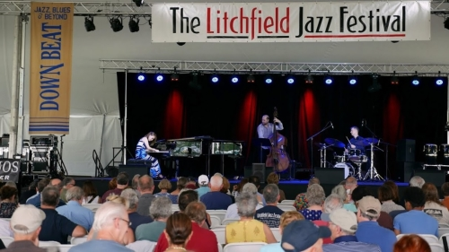 The Yoko Miwa Trio at the 2018 Litchfield Jazz Festival with Yoko Miwa, Will Slater, and Scott Goulding