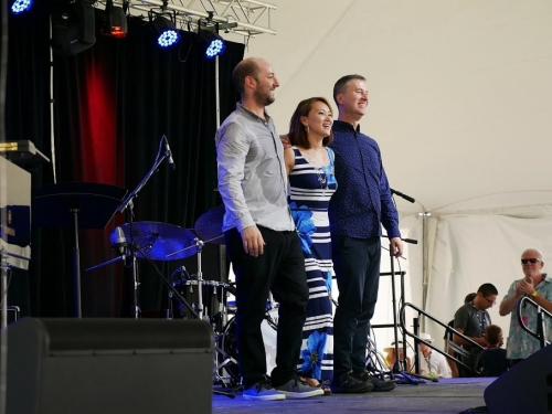 The Yoko Miwa Trio at the 2018 Litchfield Jazz Festival with Will Slater, Yoko Miwa, and Scott Goulding