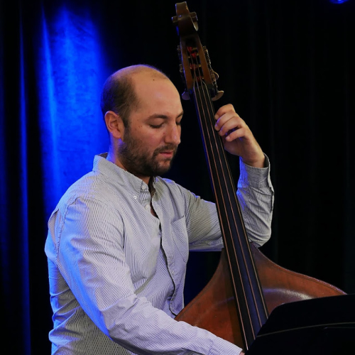 Will Slater on bass at the 2018 Litchfield Jazz Festival. Photo by Jay Tee